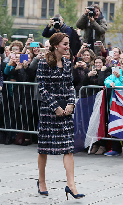 Kate wrapped up warm in an elegant Erdem coat. 