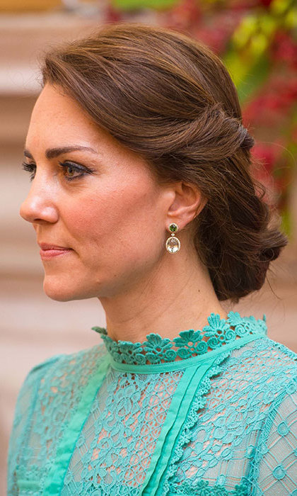 Kate also opted for a hairstyle with a twist during a visit to India. 