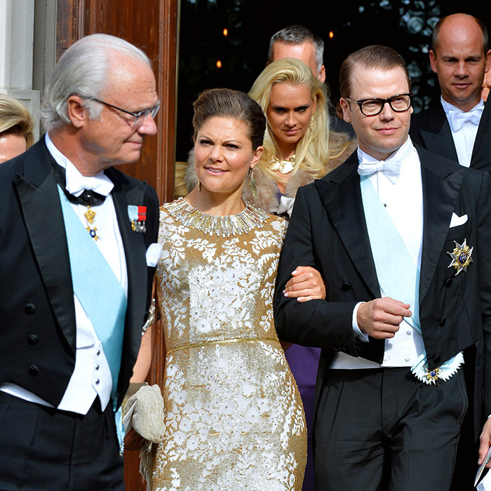Christina's brother King Carl XVI Gustaf with his daughter Crown Princess Victoria and Victoria's husband Prince Daniel.