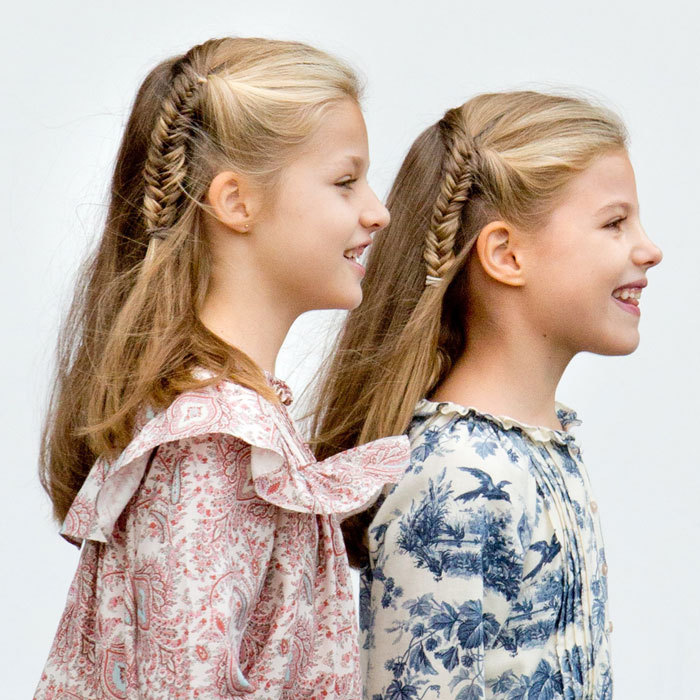The girls love wearing matching braids, taking after their mom Letizia!