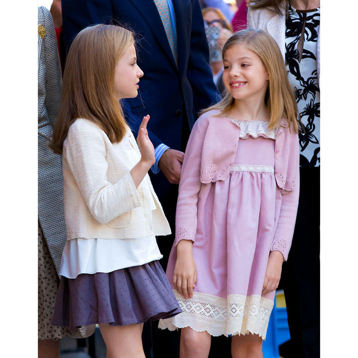 Leonor and Sofia were dressed in their Sunday best attending Easter Mass at the Cathedral of Palma de Mallorca. 