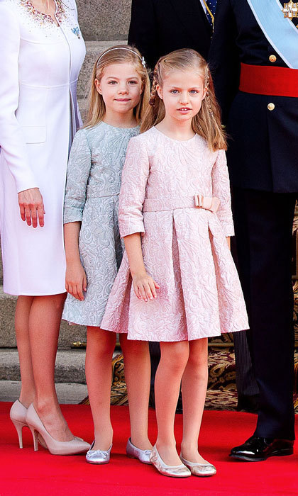 The princesses were dressed to the nines in brocade dresses at their father's coronation ceremony in 2014.