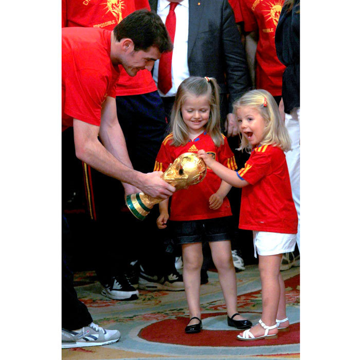 The sisters looked excited celebrating Spain's 2010 FIFA World Cup championship at Zarzuela Palace.