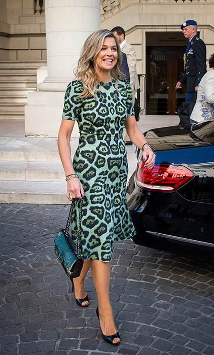Queen Maxima turned heads in a green leopard print dress for a meeting in Argentina.