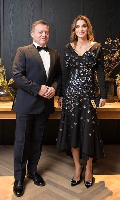 The Queen of Jordan looked glamorous in a black embellished gown at a gala dinner.