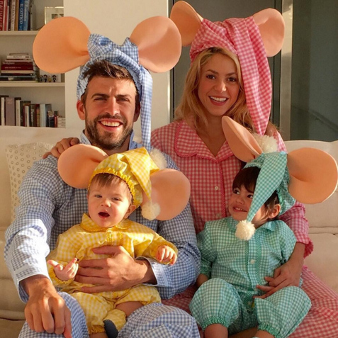Shakira, partner Gerard Piqué and their sons Milan and Sasha dressed up as Spanish cartoon family Topo Gigio.