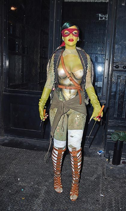 Rihanna dressed as a Teenage Mutant Ninja Turtle in 2014.