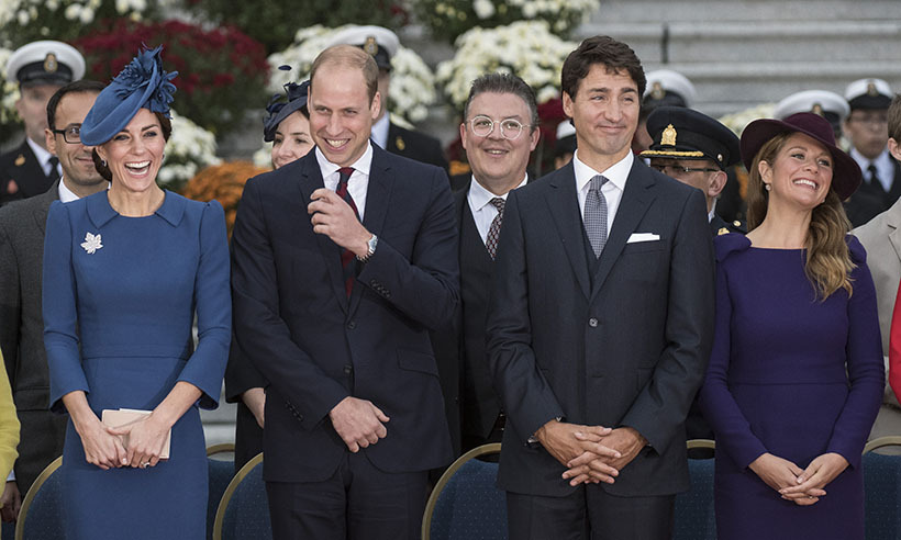The duke and duchess then joined Mr. and Mrs. Trudeau for the official welcoming ceremony at the Legislative Assembly of British Columbia. 