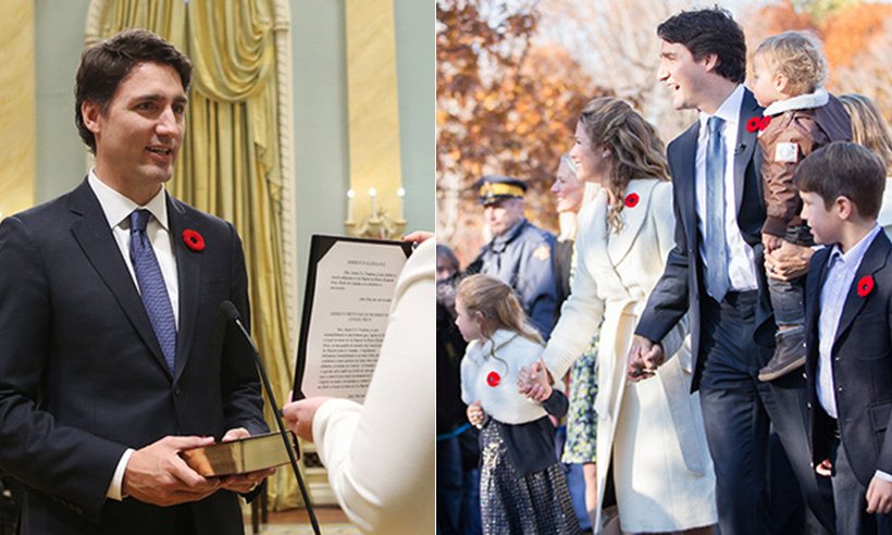 On Nov. 4, 2015, Justin Trudeau made his mark on history. The father of three was sworn in as Canada's 23rd prime minster more than four decades after his own dad, Pierre Trudeau, took his seat as head of Parliament in 1968. Justin was surrounded by his loving wife, Sophie Grégoire Trudeau, and children Xavier, 8, Ella-Grace, 6, and 20-month-old Hadrian in Ottawa. <br>Photo: © Reuters