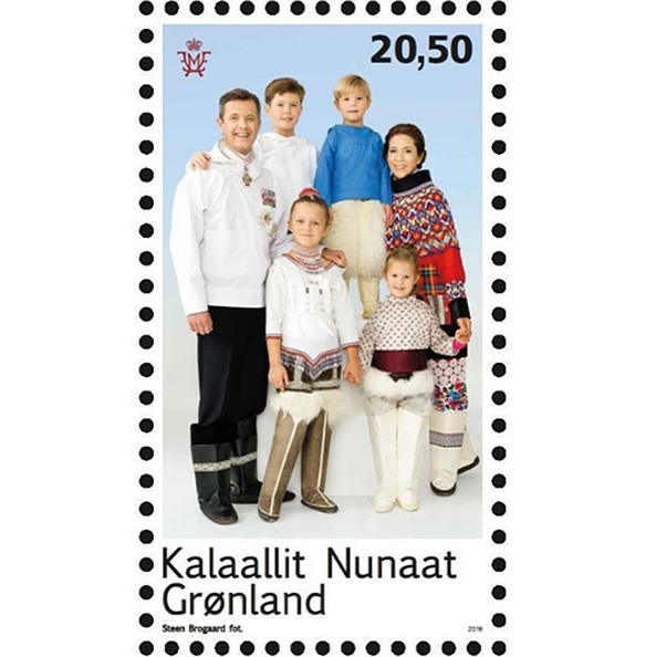 Princess Mary, her husband Prince Frederik and the couple's four children – Prince Christian, Princess Isabella and twins Prince Vincent and Princess Josephine – all posed for a new stamp for Greenland, wearing the country's traditional clothing. The stamp will be released via Greenland Post.