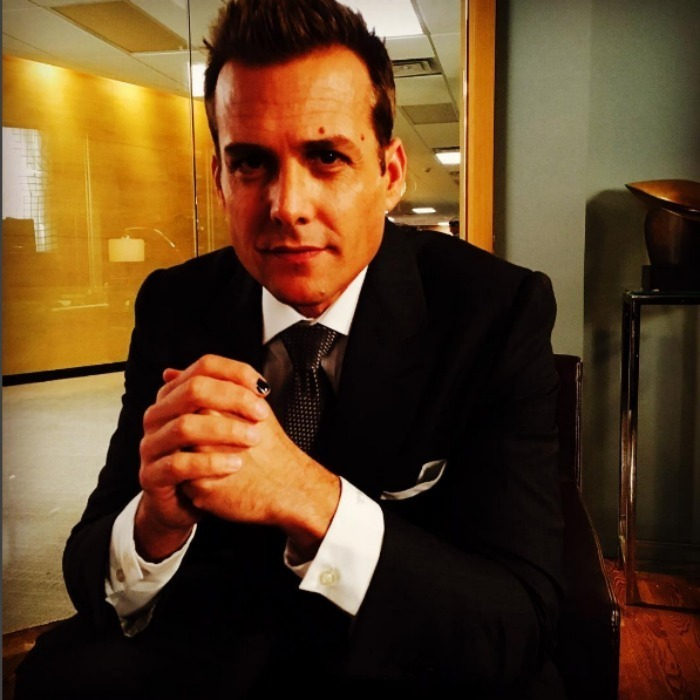 <i>Suits</i> star Gabriel Macht was a polished man matching his nail with is suit while on the set of his show. 