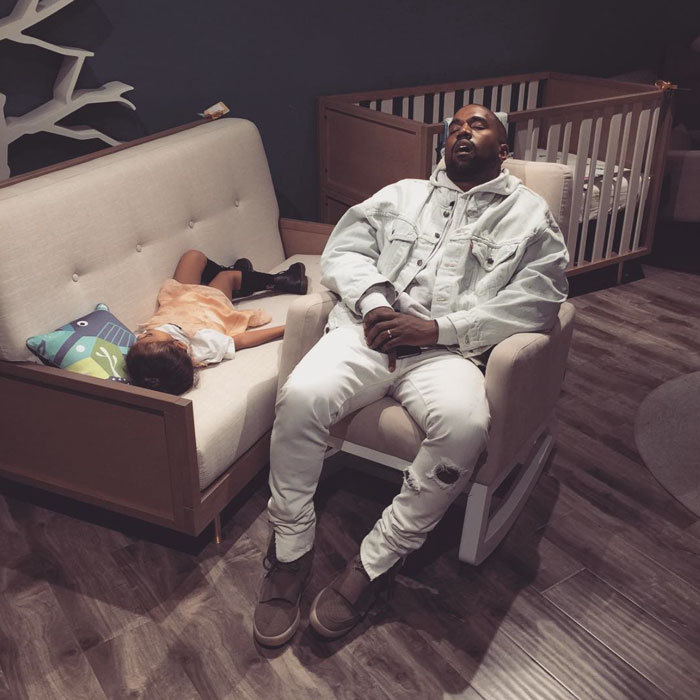 Kanye West and his daughter North took a cat nap while baby shopping with friends John Legend and Chrissy Teigen.