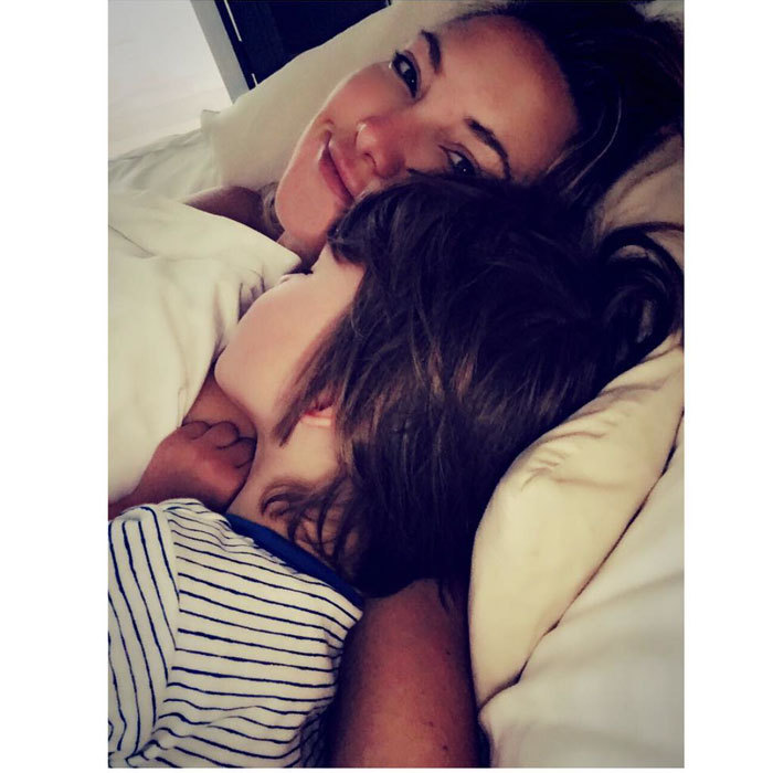 Kate Hudson enjoyed some morning snuggles with her son Bingham Bellamy.
