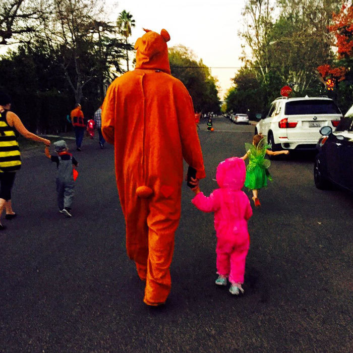Channing Tatum donned a onesie to go trick or treating with his daughter Everly on Halloween.