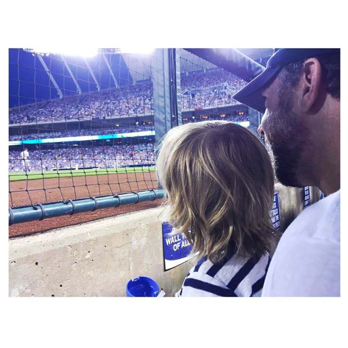 Jason Sudeikis took his son Otis out to a baseball game.