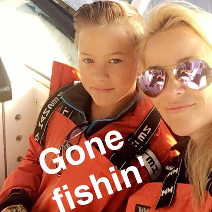 Gone fishing! Reese Witherspoon and her son Deacon Phillippe donned matching life jackets to catch fish.