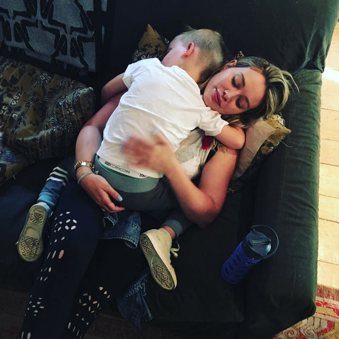 He'll always be her little boy! Hilary Duff caught some zzzs with her son Luca Comrie.
