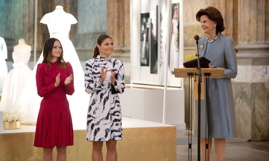 "Sofia, Victoria and Queen Silvia attended the inauguration of the ""Royal Wedding Dresses 1976-2015"" exhibit.
