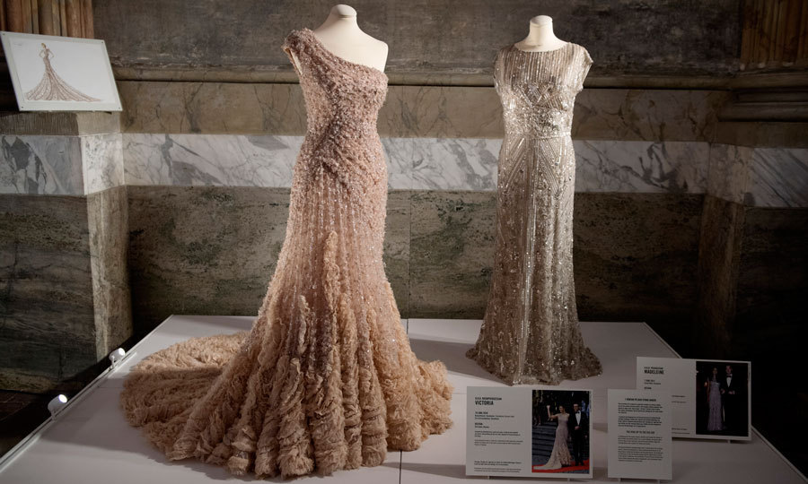 Apart from their bridal gowns, Victoria and Madeleine's rehearsal dinner dresses are also on display.