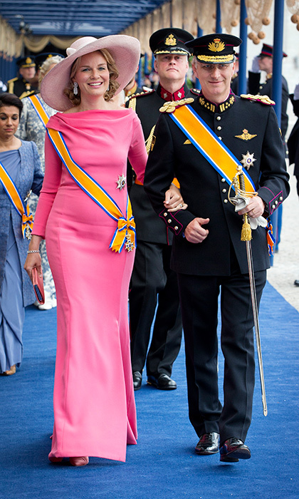 Queen Mathilde of Belgium opted for multiple shades of pink after the investiture ceremony of King Willem-Alexander in Amsterdam.