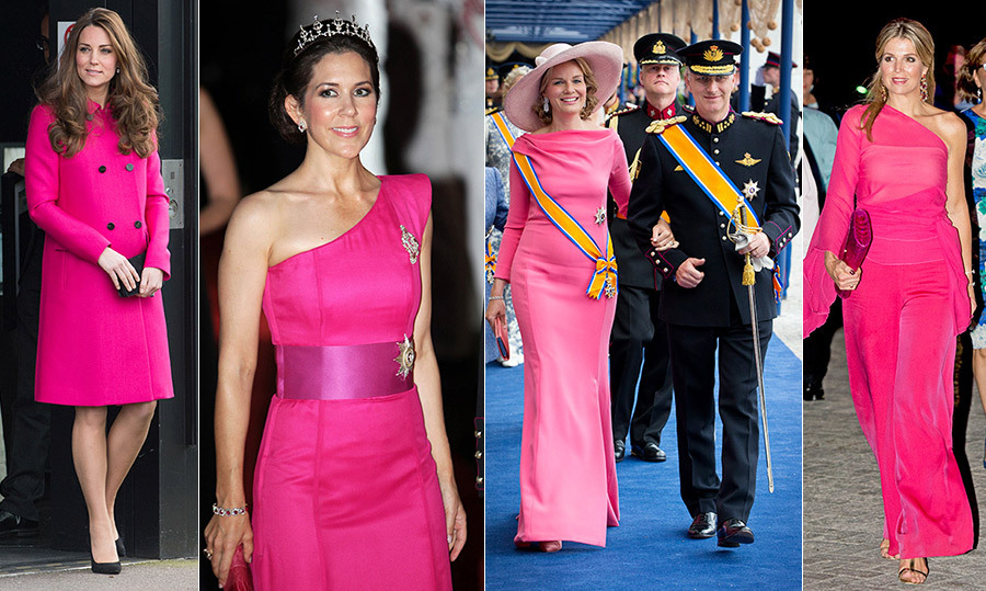 Sometimes the royal style set have Pink Lady moments, and there's ample inspiration to be found for wearing the punchy hue. From Duchess Kate's chic coat to Queen Maxima's disco-inspired pantsuit and oodles of show-stopping gowns, see all the different ways our favourite titled ladies wear pink...