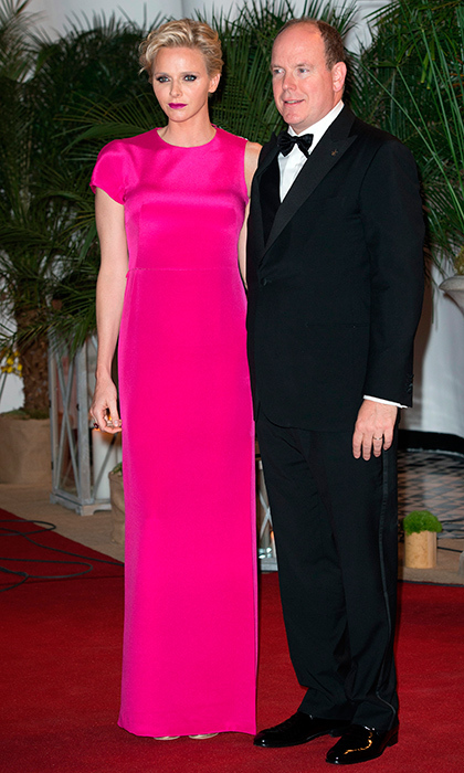 The very statuesque Princess Charlene of Monaco wore a floor-length pink column gown for the Gala Grand Prix in Monte Carlo.
