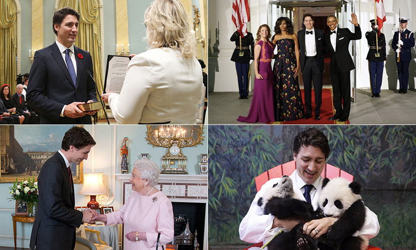 It's been a memorable first year in office for Prime Minister Justin Trudeau. As the 23rd Canadian sworn into the position, the father of three marked his first 12 months on the job with viral photo-ops (from cuddling pandas to shirtless selfies), a blossoming bromance with U.S. President Barack Obama and visits with prominent members of the royal family (including a private meeting with the Queen at Buckingham Palace, a day of sports with Prince Harry in Toronto and some quality time with the Cambridges during their royal tour of Canada.)