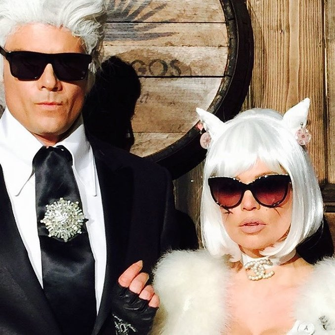 Josh Duhamel and wife Fergie as Chanel's Karl Lagerfeld and his infamous cat Choupette. 
