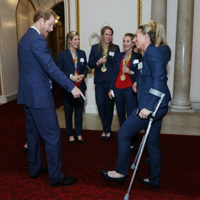 Harry, 32, was a hit with the women of Team GB's hockey team, reeling off jokes and showing off his fun side during the a reception.