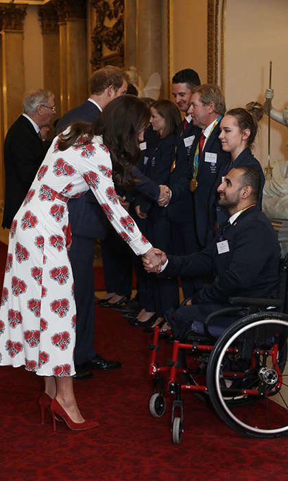 Kate looked delighted as she chatted to the Rio 2016 star athletes alongside her husband, Prince William.