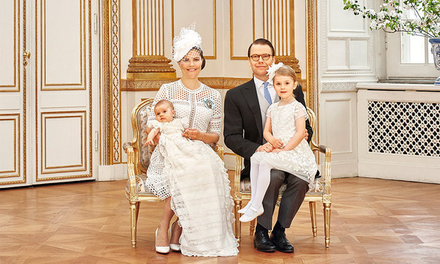 One for the family album. Crown Princess Victoria and her husband Crown Prince Daniel pose with their children following Prince Oscar's christening on May 27 2016. 