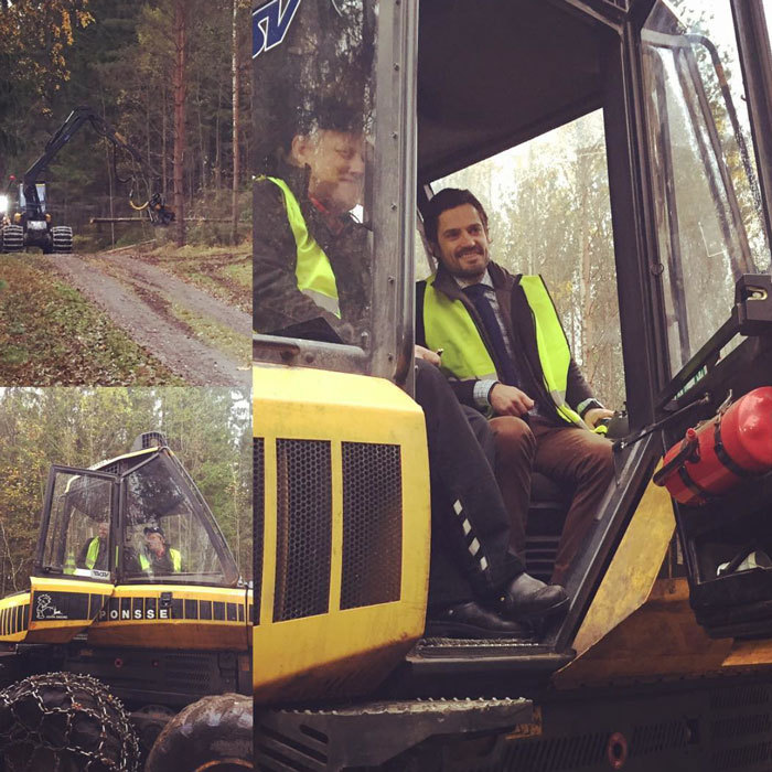 The dad-of-one began his day in the Gullsjöälven Saffle municipality, where he met with representatives from the Agricultural Society and learned about modern forestry.