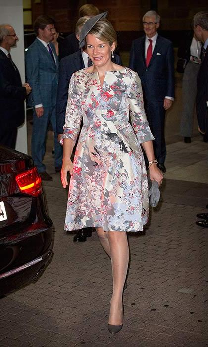 Queen Mathilde stepped out in a floral dress for an event in Frankfurt.