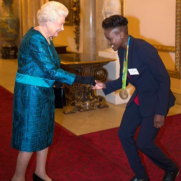 Her Majesty hosted a reception for Olympics and Paralympic medallists at Buckingham Palace in a colourful blue dress.