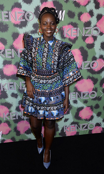 Lupita Nyong'o was one of many famous faces who came out to help showcase the new KENZO x H&M collection, wearing one of the brand's colourful looks to perfection.