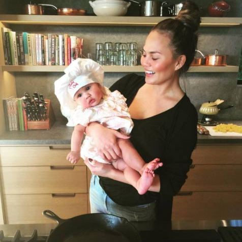 Little Luna is following in foodie mom Chrissy's footsteps. 