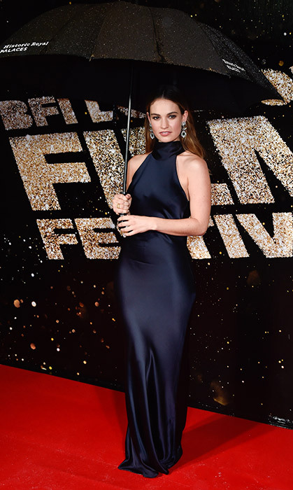 Lily James didn't let the rain dampen her style at the BFI London Film Festival.