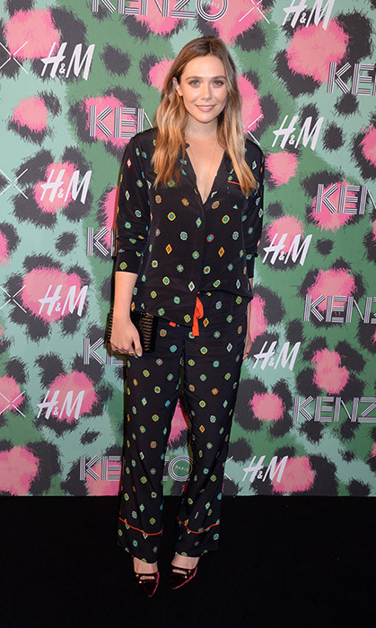 Looking effortlessly cool, as always, Elizabeth Olsen donned a pyjama-style set from the KENZO x H&M collection.