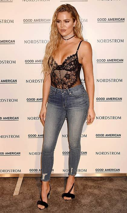 Khloe Kardashian showed off her slimmed down physique in jeans from her new Good American denim collection.