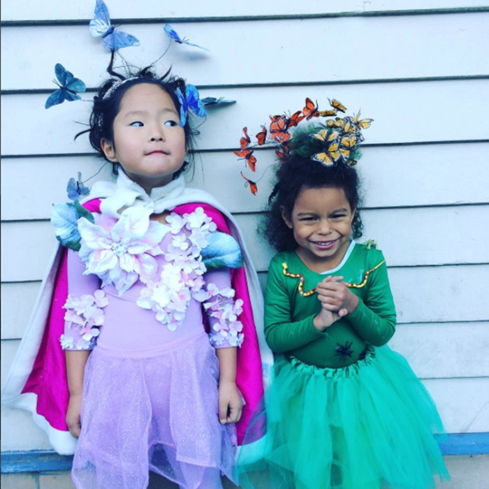 Katherine Heigl showed off her DIY Halloween craftsmanship with these two gorgeous handmade outfits for her daughters Naleigh and Adelaide. 