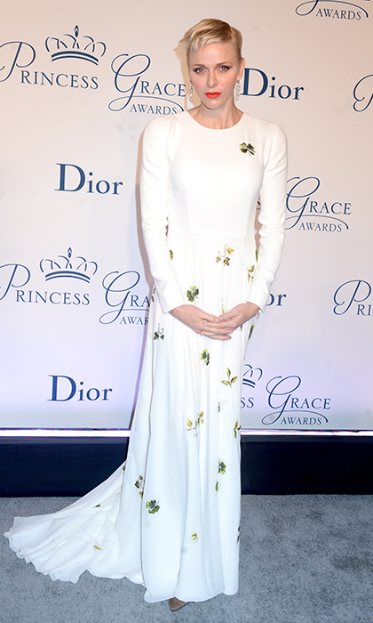 Princess Charlene dazzled in a four-leaf clover embellished Dior gown. 