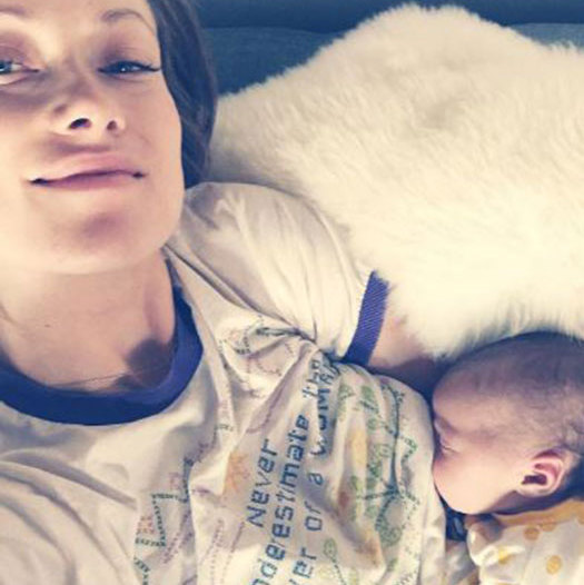 The 32-year-old looked every inch the glowing mother as she posed for a selfie while breastfeeding her little girl on Monday.