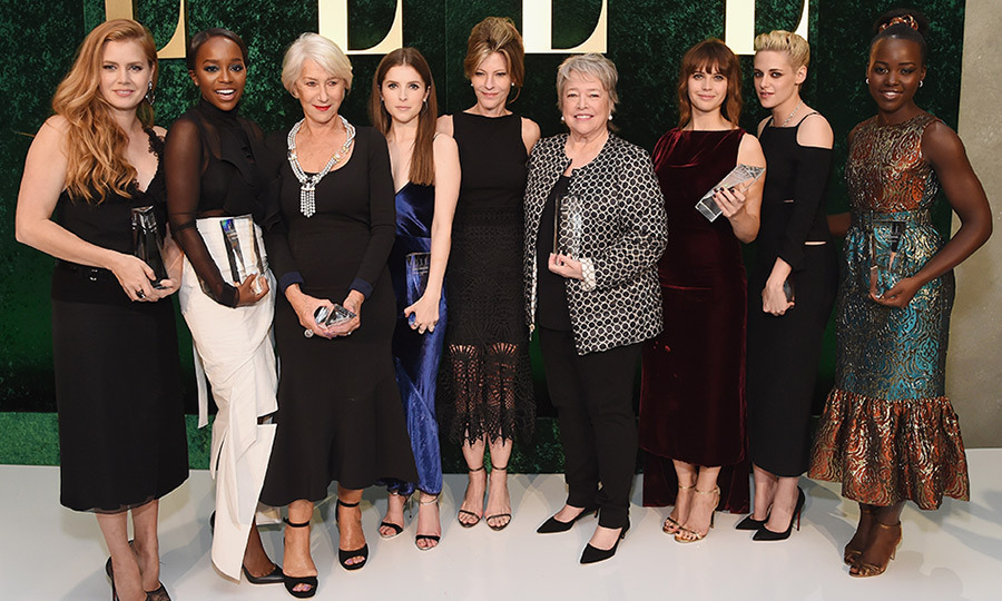 A star-studded crowd turned up the glamour at the ELLE Women In Hollywood Awards at the Four Seasons in Beverly Hills, where a bevy of A-list beauties were honoured for their contributions to film. Here, honourees Amy Adams, Aja Naomi King, Helen Mirren, Anna Kendrick, Kathy Bates, Felicity Jones, Kristen Stewart and Lupita Nyong'o pose with ELLE Editor-In-Chief Robbie Myers, who hosted the event alongside sponsors L'Oréal Paris and Hearts on Fire and supporting sponsor Calvin Klein. Click through our gallery to see some of the evening's most fashionable looks...