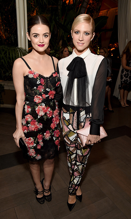 Lucy Hale in Marchesa with Brittany Snow