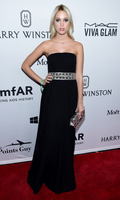 "Olympia looked regal in ""head-to-toe Dior"" - a black strapless empire gown that featured an embellished waistband – for amfAR's seventh New York Inspiration Gala.