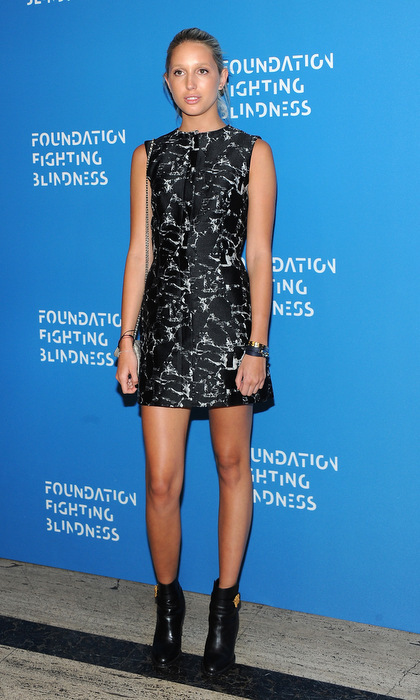 Marie-Chantal's daughter showed off her edgier side wearing a black printed mini dress and booties for the 2016 Foundation Fighting Blindness World Gala in NYC.
