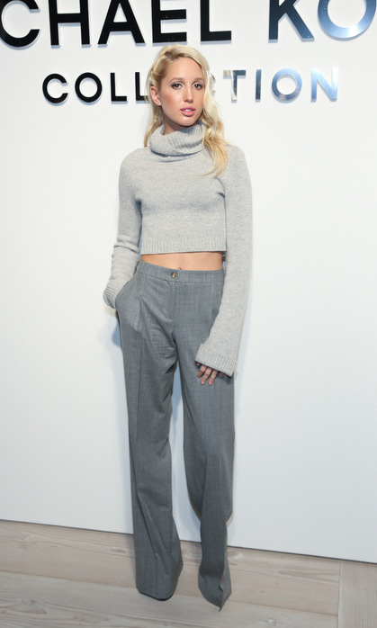 The princess kept cozy in a cropped grey turtleneck sweater, which she paired with matching trousers, for the Michael Kors show during Fall 2016 NYFW.