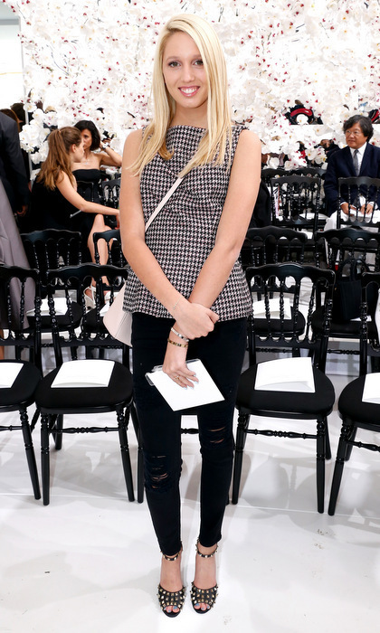 The Greek princess kept it très chic wearing a gingham blouse and black ripped jeans paired with studded heels for Dior's Haute Couture Fall/Winter 2014-2015 show in Paris.