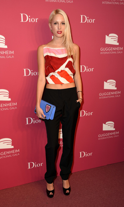 Olympia, the only daughter of Marie-Chantal and Crown Prince Pavlos of Greece, made a colourful splash at the 2015 Guggenheim International Gala Pre-Party in New York. The royal opted for a graphic pink, orange and red cropped blouse, completing her look with a bold red lip and blue clutch bag.