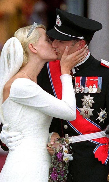2. In August 2001, Mette-Marit married Crown Prince Haakon in a stunning ceremony in Oslo, surrounded by royals from around the world including Britain's Earl and Countess of Wessex. Mette-Marit's son Marius from a previous relationship served as page-boy and appeared with the couple on the balcony of the royal palace as the day reached its big finale.